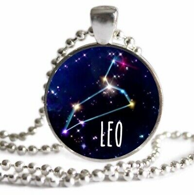 LEO Zodiac Constellation Necklace Silver Pendant July August Birthday Gift