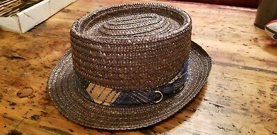 3bef03ada8047 Fiorella Made In Italy Vtg Straw Beach Boatet Hat Mens Band Brown Panama 7  1/