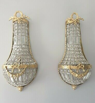 Pair Of Empire Gilded Brass Crystal Glass Wall Lights, Rewired