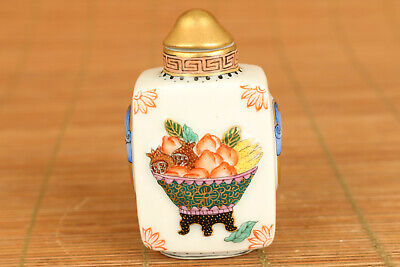 Rare old porcelain hand painting flower fruits snuff bottle