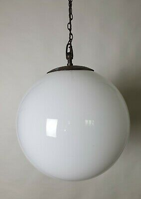 Large 1930s Globe White Ceiling Light, Rewired