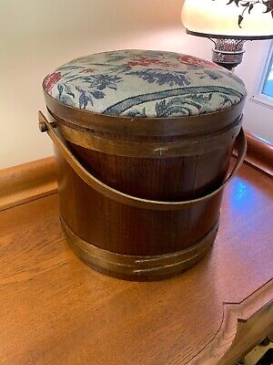 Antique Firkin Wood Sugar Bucket Stool Sewing Basket Fabric Patterned Padded Top