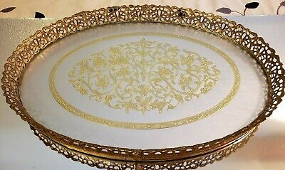 Vintage Gold Filigree Vanity Tray with Floral Design