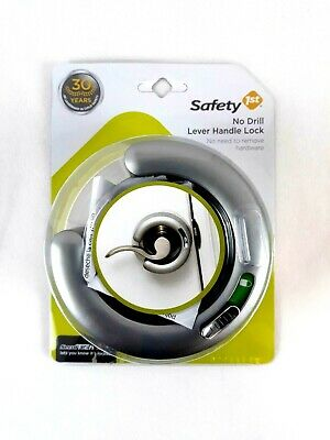Safety First Door Lever Handle Lock No Drill Security Protection