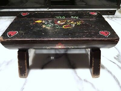 """Antique? Primitive? SMALL BLACK PAINTED WOOD FOOT STOOL Log Shape 12 x 6"""" Hearts"""