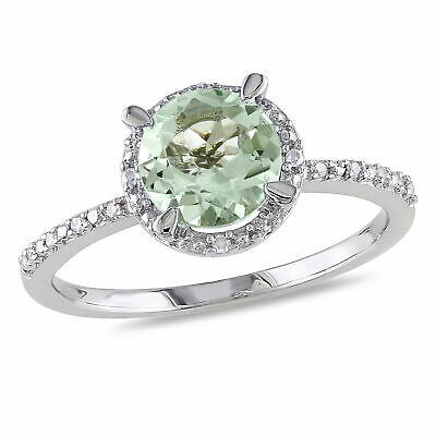 Amour Sterling Silver Green Amethyst and Diamond Halo Ring