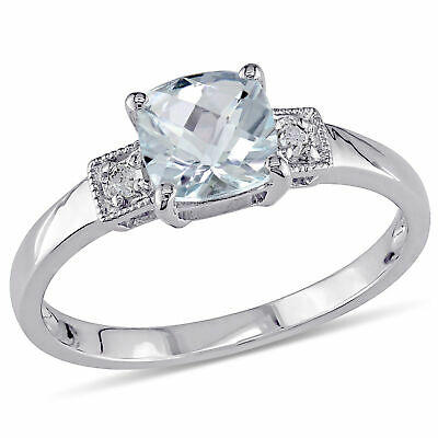 Amour Sterling Silver Cushion-cut Aquamarine and Diamond 3-stone Engagement Ring