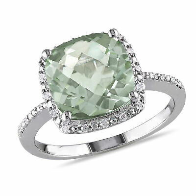 Amour Sterling Silver Cushion-cut Green Amethyst and Diamond Halo Cocktail Ring
