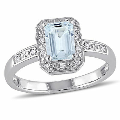 Amour Sterling Silver Emerald-cut Aquamarine and Diamond Halo Ring