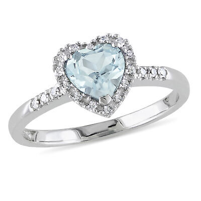 Amour Sterling Silver Aquamarine and Diamond Heart Halo Birthstone Ring