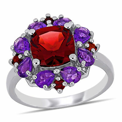 Amour Sterling Silver Garnet and African-Amethyst Floral Cluster Cocktail Ring