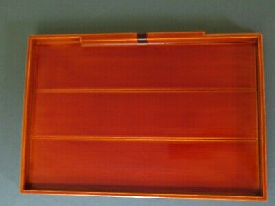 Vintage Japanese Lacquer ware Wooden Serving Tray #2 Shunkei Nuri Signed 11""