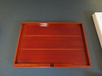 Vintage Japanese Lacquer ware Wooden Serving Tray #1 Shunkei Nuri Signed 11""