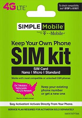 Simple Mobile Triple-Cut Sim Card With $40 Plan 3 Month Service 15GB