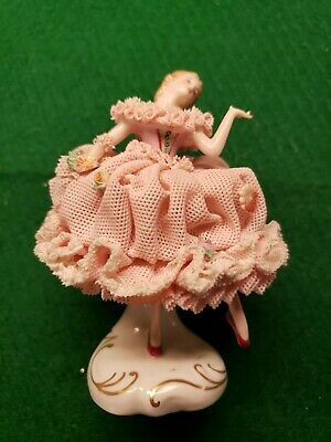 """Antique Irish Dresden Porcelain and Lace Figurine """"lilly"""" 4 Inches Tall"""