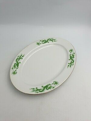 Chinese Porcelain Oval Serving Platter Green Dragon Chasing Pearl Of Wisdom