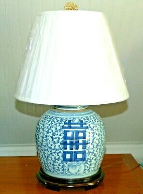 """Chinese GINGER JAR LAMP 10"""" Blue & White Porcelain Double Happiness 3-B"""