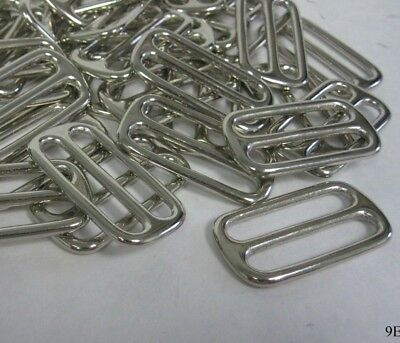 "Lot of 50 Metal Shiny 50mm x 26mm (2"" x 1"") Triglides / Slide Buckle"