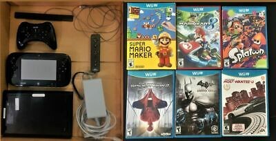 Nintendo Wii U Console System - 32GB Black Deluxe Set Bundle+6 Games