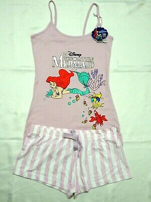 The Little Mermaid Official Disney Ladies Vest & Shorts Pyjama Set Pj's Primark