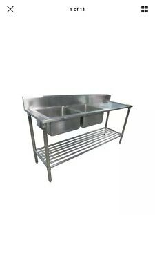 2000x800x800+100 COMMERCIAL DOUBLE Left BOWL KITCHEN SINK STAINLESS STEEL BENCH
