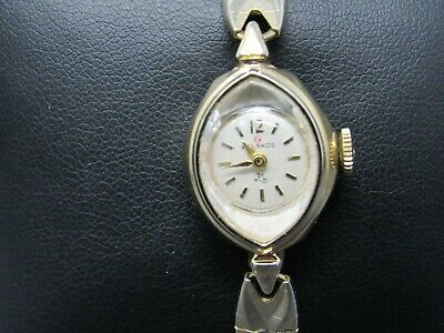 Vintage HELBROS 21 Gold Case & White Face Mechanical WIND UP & Metal Band Watch