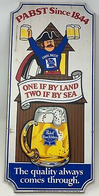 Vintage Pabst Blue Ribbon Beer Wooden Bar Sign. One if by Land Two if by Sea PBR