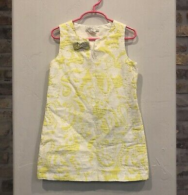 J Crew Crewcuts Girls Yellow White Brocade Dress Flower Medium M