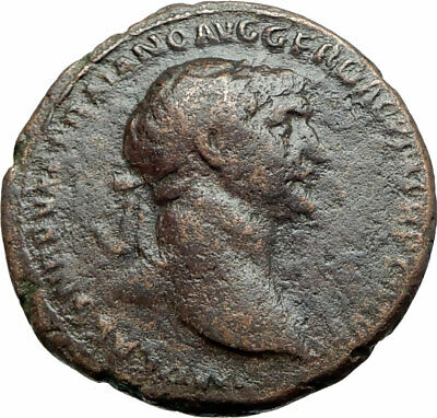 TRAJAN 98AD Big Sestertius  Authentic Ancient Roman Coin Abundantia i79169