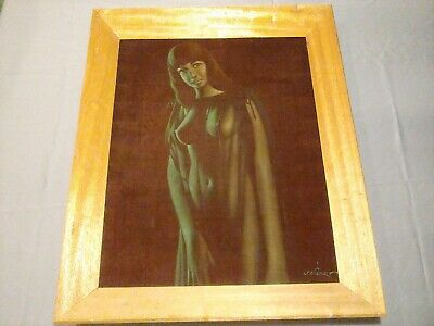 Vintage Black Velvet Nude Woman Painting Man Cave Art Signed