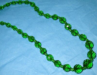 "Antique Art Deco Bohemian Hand Cut Green Crystal 24"" Necklace 1930s"