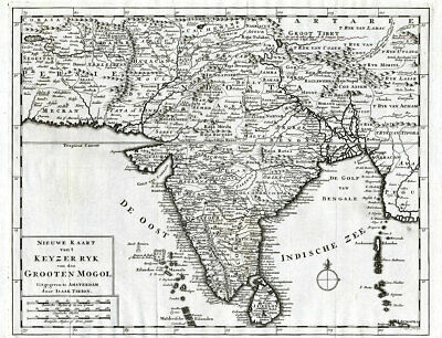 Antique Map-INDIA-MUGHAL EMPIRE-MOGOL-SRI LANKA-Schley-Tirion-1731