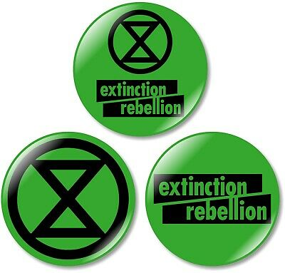 3 x Extinction Rebellion Hand Made 32mm BUTTON PIN BADGES Protest Climate Change