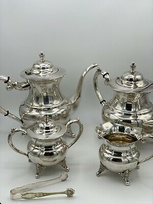 Vintage 6 Piece Silverplated Coffee Tea Service Set Silver in Case Thailand