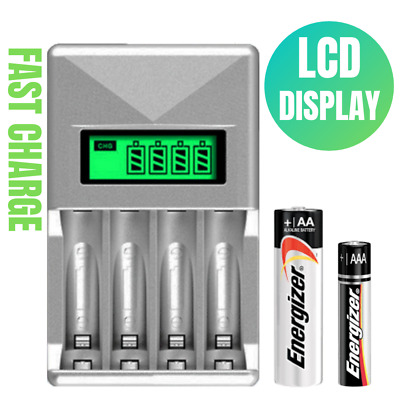 4 Slots LCD Battery Charger For AA AAA NiCd NiMh Rechargeable Batteries 1800mAh