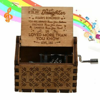 """Dad To Daughter """"You Are Loved More Than You Know"""" Wooden Engraved Music Box Toy"""