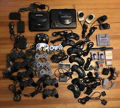 LOT PlayStation Nintendo Sega Atari: Controllers Cables Power Cords Consoles +
