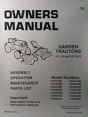 MTD 143 990 Farm King Hydrostatic 16 hp Garden Tractor Owner ... Farm King Lawn Tractor Wiring Diagram on
