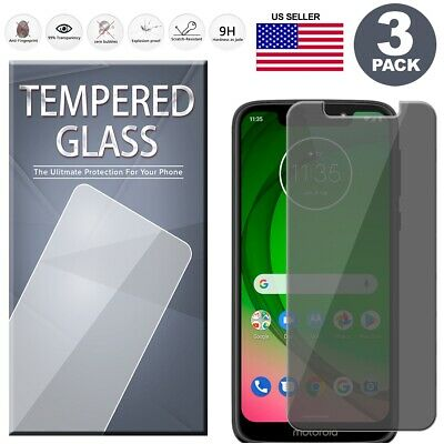 3-Pack Privacy Tempered Glass Screen Protector For Motorola Moto G7 Power Play