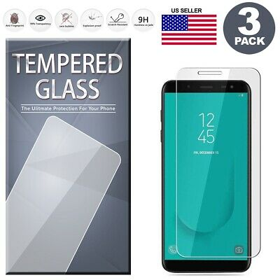 (3-Pack) Tempered Glass Film Screen Protector For Samsung Galaxy J6 Plus