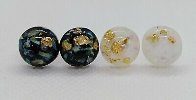 Two pairs of Gold Foil Resin Black and White Earrings