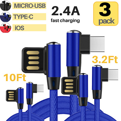 3Pack 3M Lightning Nylon USB Charging Cord Cable iPhone/Micro USB/Type C Charger