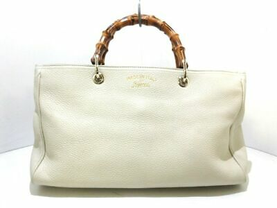 37682974c Auth GUCCI Bamboo Shopper Leather Tote 323660 Ivory Brown DarkBrown Tote Bag