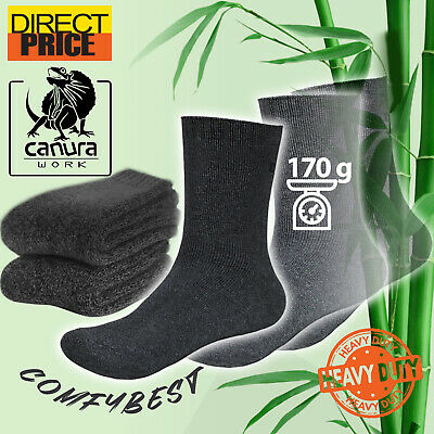 7 Pairs Bamboo Socks Heavy Duty Extra Thick 88% Work Soft Comfort Mens Charcoal