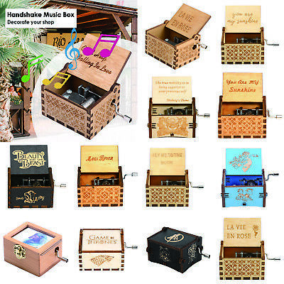 Retro Vintage Wooden Hand Cranked Music Box Home/Shop Crafts Decor Kids Gifts AU
