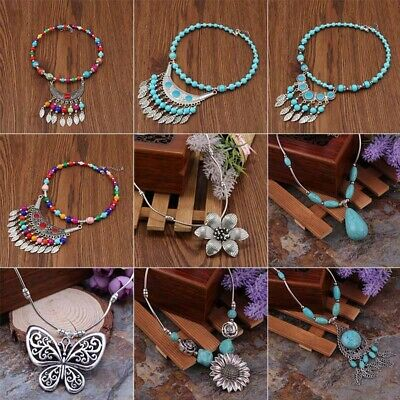 29Style Vintage Women's Tibetan Silver Turquoise Beads Pendant Necklace Chain