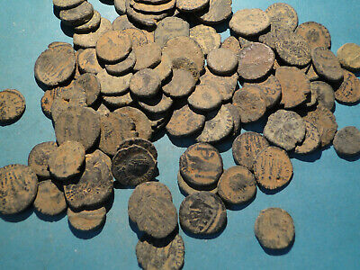 """5 Uncleaned and Unresearched Roman Bronze Coins. mostly """"as dug"""""""