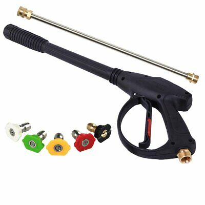 "High Pressure Washer Gun 4000psi w/18"" Extension Replacement Wand Lance+5 Nozzle"