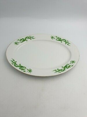 Chinese Large Porcelain Oval Serving Platter Green Dragon Chasing Pearl Of Wisdo