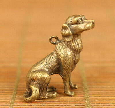 old bronze hand casting dog statue pendant netsuke table decoration
